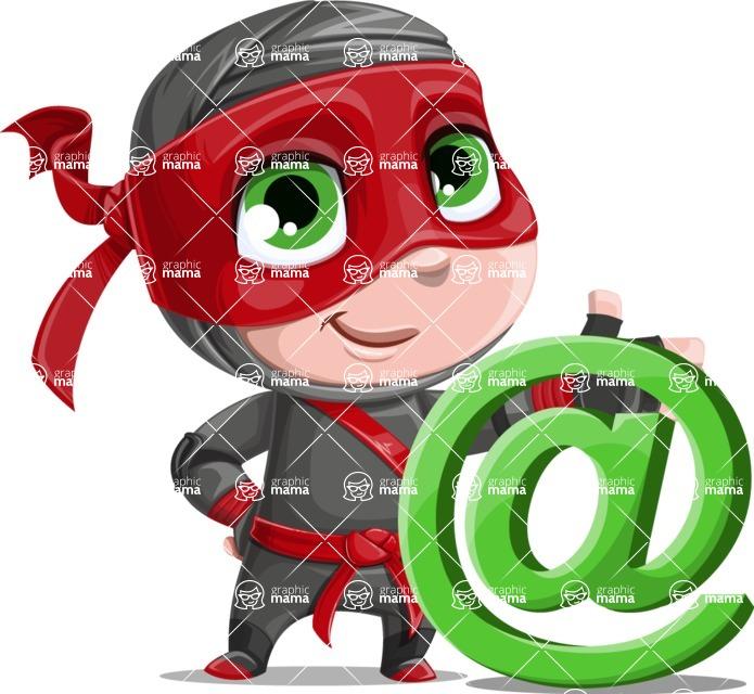 Little Ninja Kid Cartoon Vector Character AKA Shinobi The Curious Boy - At Symbol