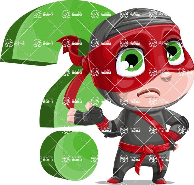 Little Ninja Kid Cartoon Vector Character AKA Shinobi The Curious Boy - Question
