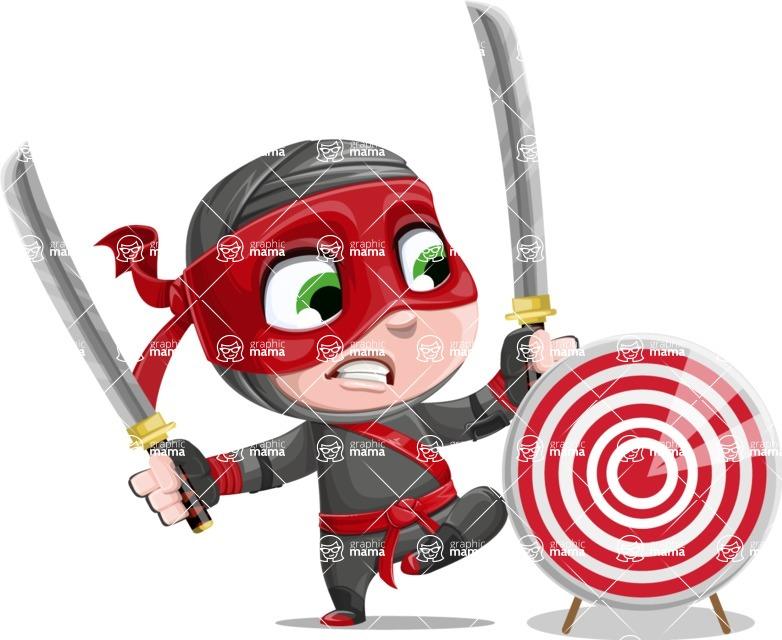 Little Ninja Kid Cartoon Vector Character AKA Shinobi The Curious Boy - Target