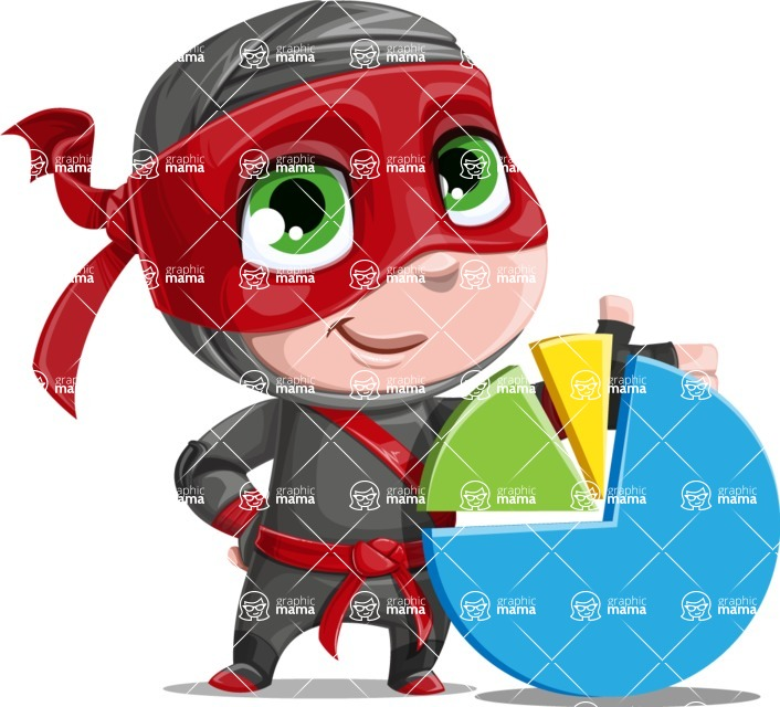 Little Ninja Kid Cartoon Vector Character AKA Shinobi The Curious Boy - Chart