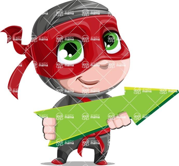 Little Ninja Kid Cartoon Vector Character AKA Shinobi The Curious Boy - Pointer 1