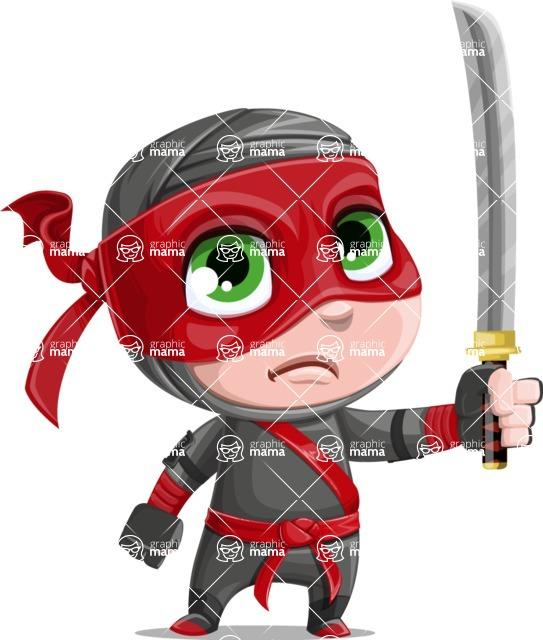 Little Ninja Kid Cartoon Vector Character AKA Shinobi The Curious Boy - Determination