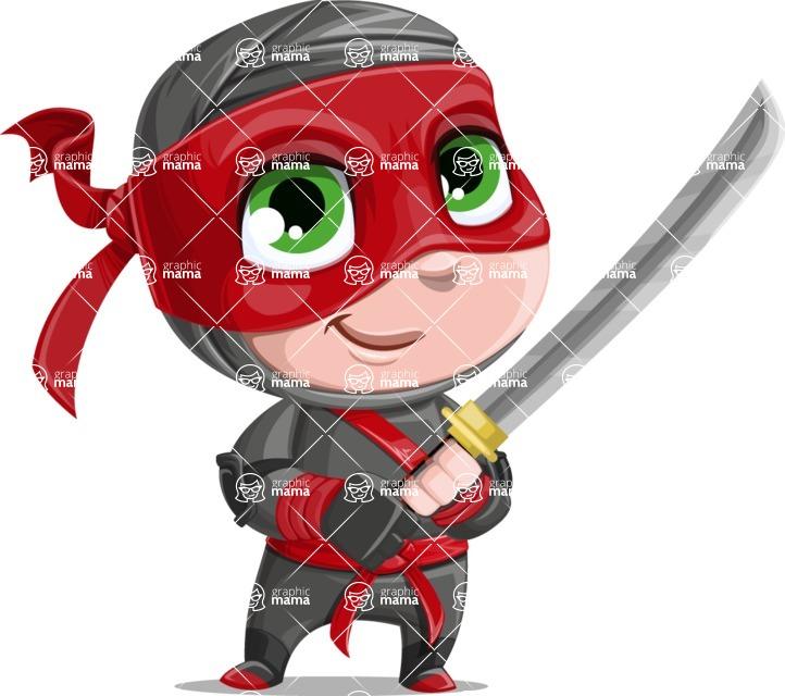 Little Ninja Kid Cartoon Vector Character AKA Shinobi The Curious Boy - Fight