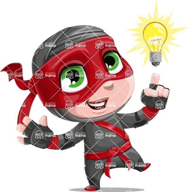 Little Ninja Kid Cartoon Vector Character AKA Shinobi The Curious Boy - Idea