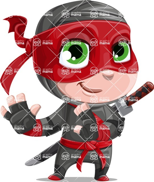 Little Ninja Kid Cartoon Vector Character AKA Shinobi The Curious Boy - Sneak Attack