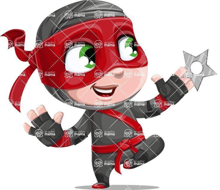 Little Ninja Kid Cartoon Vector Character AKA Shinobi The Curious Boy - Shuriken Attack