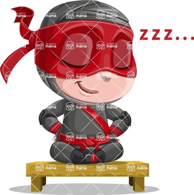 Little Ninja Kid Cartoon Vector Character AKA Shinobi The Curious Boy - Rest