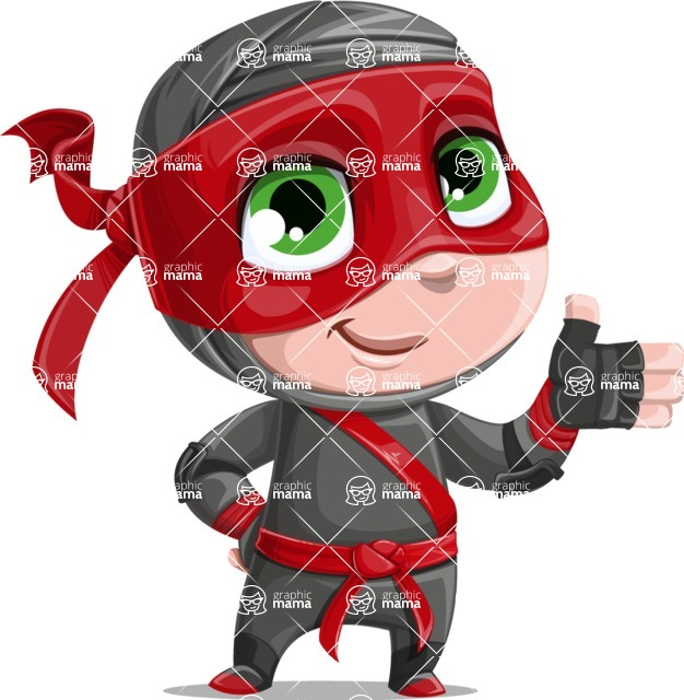 Little Ninja Kid Cartoon Vector Character AKA Shinobi The Curious Boy - Show 1