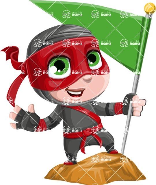Little Ninja Kid Cartoon Vector Character AKA Shinobi The Curious Boy - On the Top