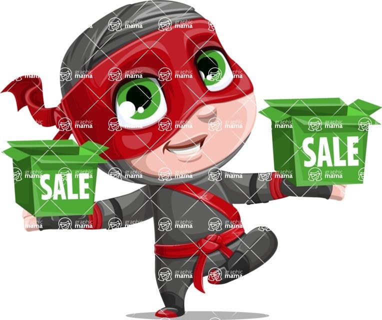 Little Ninja Kid Cartoon Vector Character AKA Shinobi The Curious Boy - Sale 1
