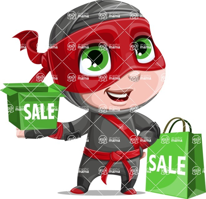 Little Ninja Kid Cartoon Vector Character AKA Shinobi The Curious Boy - Sale 2