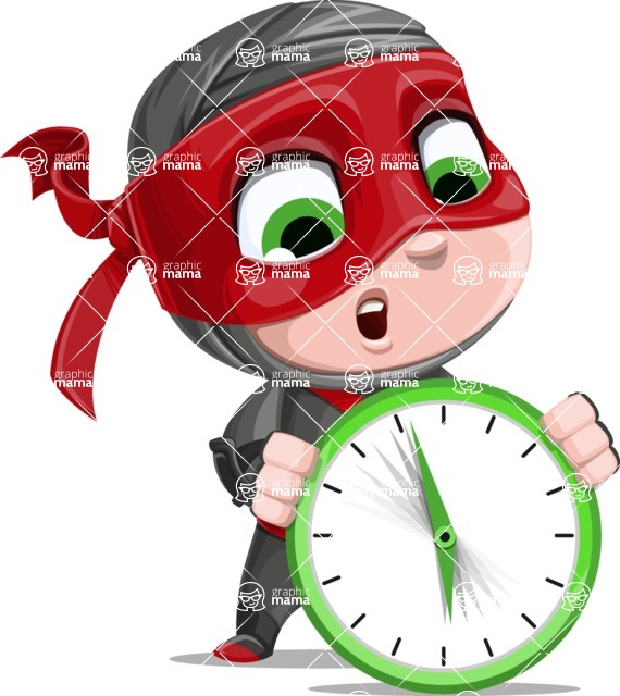 Little Ninja Kid Cartoon Vector Character AKA Shinobi The Curious Boy - Time is running out