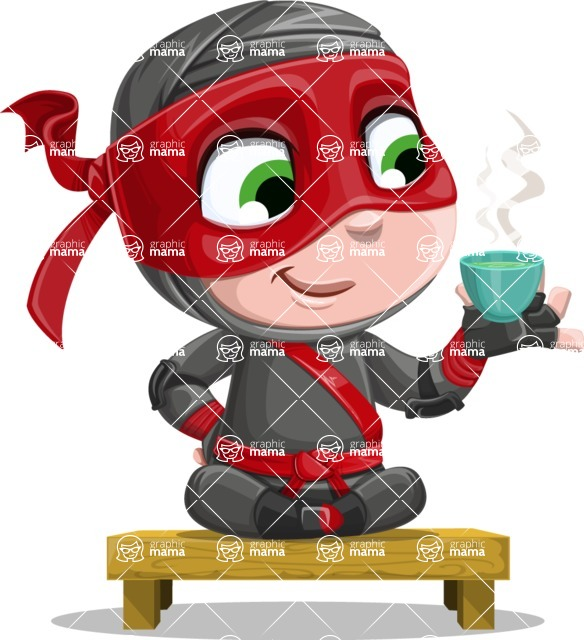 Little Ninja Kid Cartoon Vector Character AKA Shinobi The Curious Boy - Tea