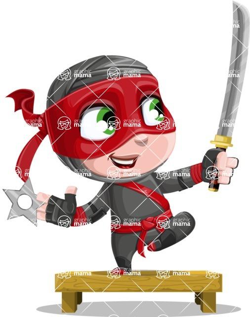 Little Ninja Kid Cartoon Vector Character AKA Shinobi The Curious Boy - Training