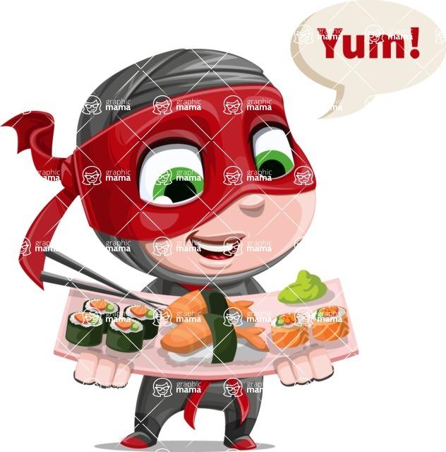 Little Ninja Kid Cartoon Vector Character AKA Shinobi The Curious Boy - Food 2