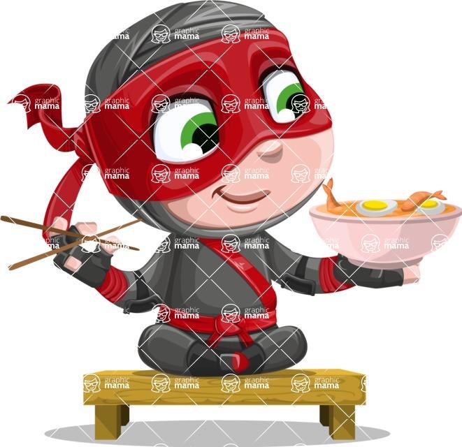 Little Ninja Kid Cartoon Vector Character AKA Shinobi The Curious Boy - Food 3