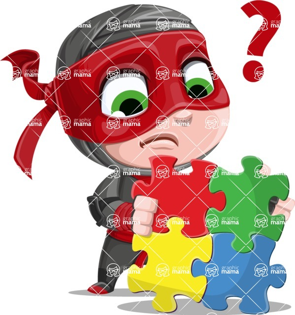 Little Ninja Kid Cartoon Vector Character AKA Shinobi The Curious Boy - Puzzle