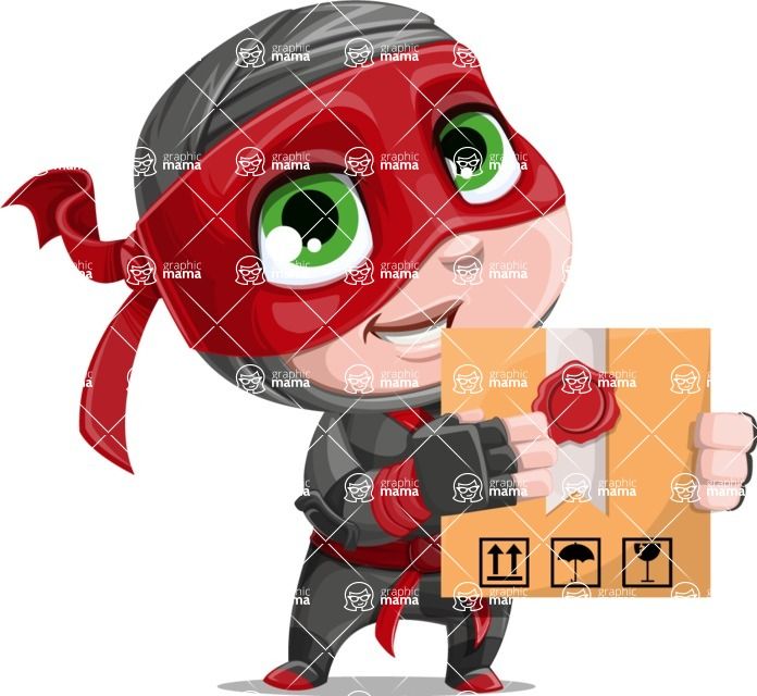 Little Ninja Kid Cartoon Vector Character AKA Shinobi The Curious Boy - Delivery 1
