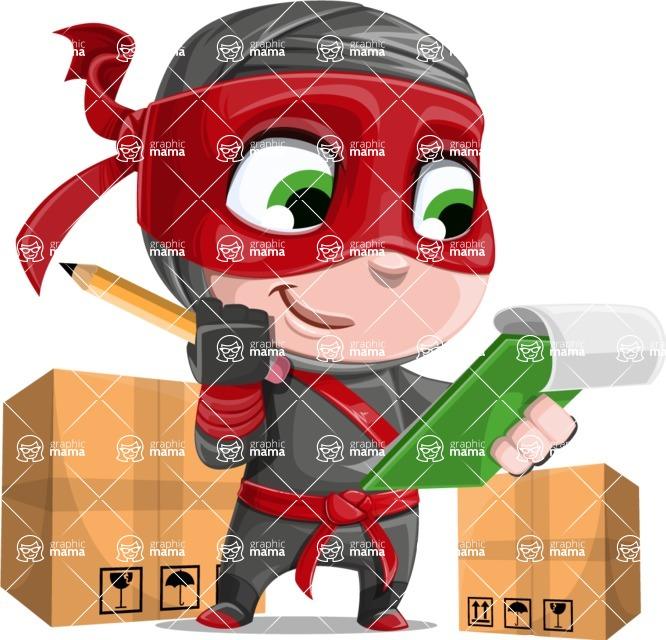 Little Ninja Kid Cartoon Vector Character AKA Shinobi The Curious Boy - Delivery 2