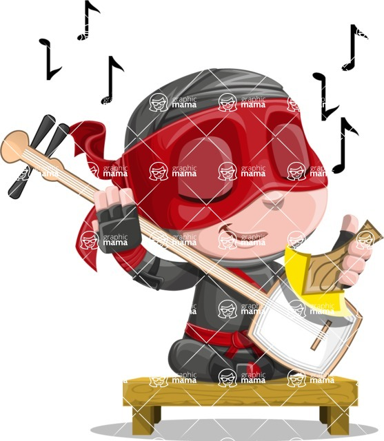Little Ninja Kid Cartoon Vector Character AKA Shinobi The Curious Boy - Music