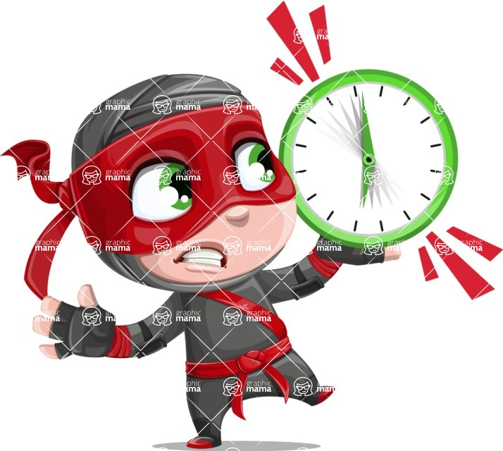 Little Ninja Kid Cartoon Vector Character AKA Shinobi The Curious Boy - Time is up