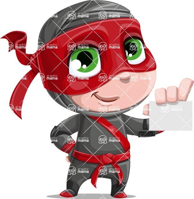 Little Ninja Kid Cartoon Vector Character AKA Shinobi The Curious Boy - Sign 1