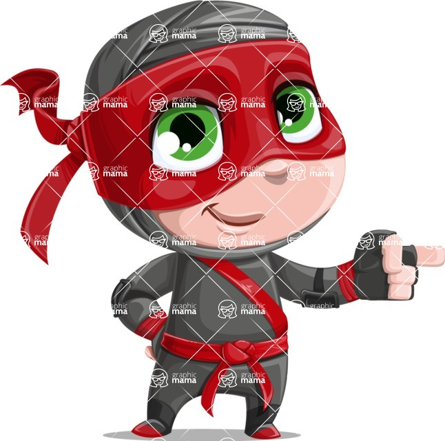 Little Ninja Kid Cartoon Vector Character AKA Shinobi The Curious Boy - Point 1