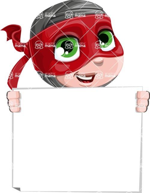 Little Ninja Kid Cartoon Vector Character AKA Shinobi The Curious Boy - Sign 5