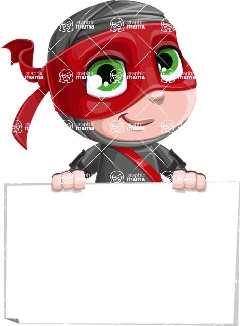 Little Ninja Kid Cartoon Vector Character AKA Shinobi The Curious Boy - Sign 6