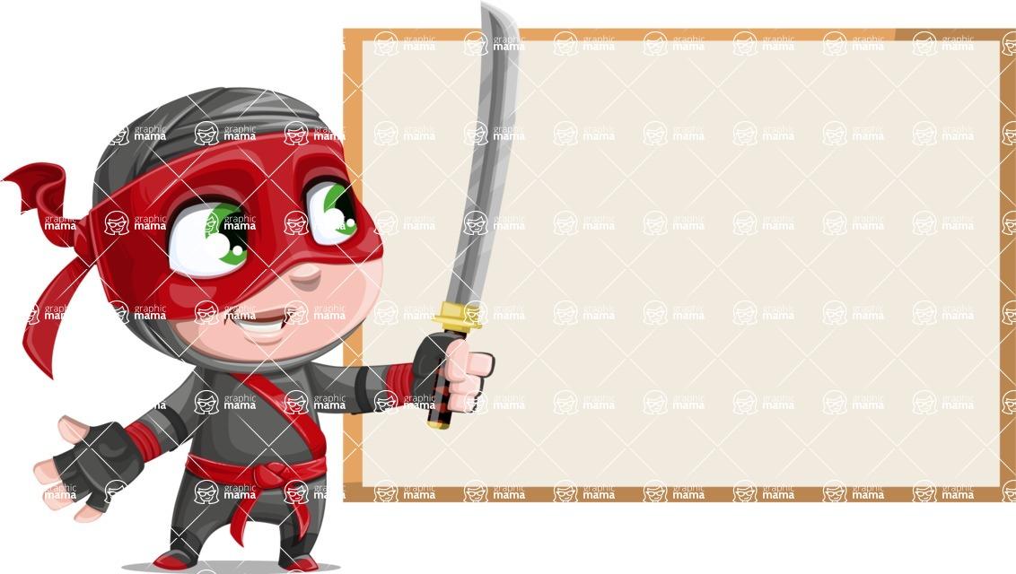 Little Ninja Kid Cartoon Vector Character AKA Shinobi The Curious Boy - Presentation 1