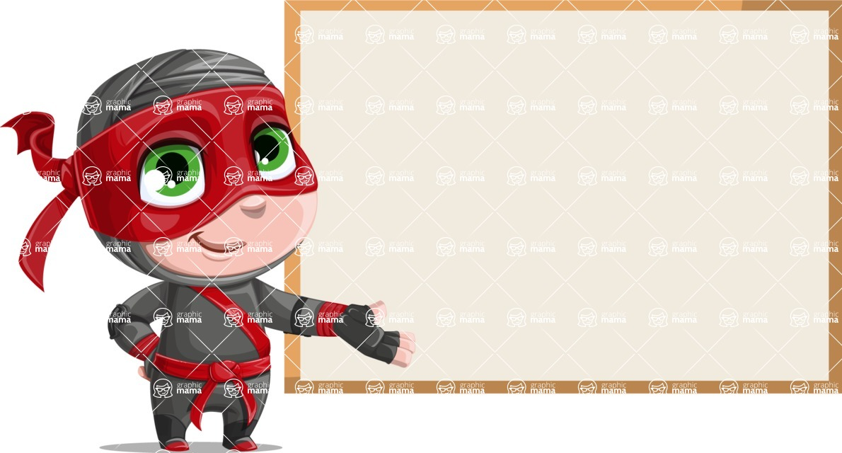 Little Ninja Kid Cartoon Vector Character AKA Shinobi The Curious Boy - Presentation 2