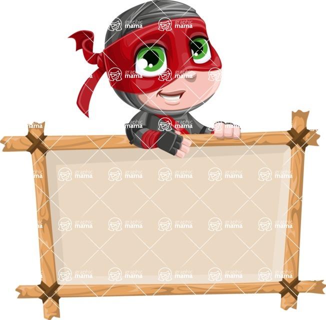 Little Ninja Kid Cartoon Vector Character AKA Shinobi The Curious Boy - Presentation 3
