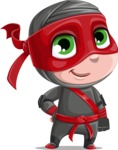 Little Ninja Kid Cartoon Vector Character AKA Shinobi The Curious Boy - ninja boy vector