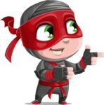 Little Ninja Kid Cartoon Vector Character AKA Shinobi The Curious Boy - Point 2