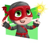 Little Ninja Kid Cartoon Vector Character AKA Shinobi The Curious Boy - Shape 4