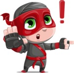 Little Ninja Kid Cartoon Vector Character AKA Shinobi The Curious Boy - Direct Attention 1