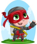 Little Ninja Kid Cartoon Vector Character AKA Shinobi The Curious Boy - Shape 10