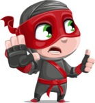 Little Ninja Kid Cartoon Vector Character AKA Shinobi The Curious Boy - Direct Attention 2