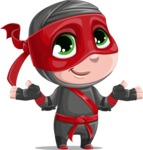 Little Ninja Kid Cartoon Vector Character AKA Shinobi The Curious Boy - Sorry
