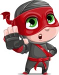 Little Ninja Kid Cartoon Vector Character AKA Shinobi The Curious Boy - Stop 2