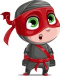 Little Ninja Kid Cartoon Vector Character AKA Shinobi The Curious Boy - Stunned
