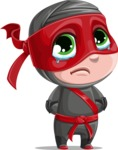 Little Ninja Kid Cartoon Vector Character AKA Shinobi The Curious Boy - Sad 1