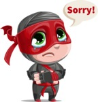 Little Ninja Kid Cartoon Vector Character AKA Shinobi The Curious Boy - Sad 2