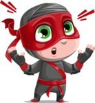 Little Ninja Kid Cartoon Vector Character AKA Shinobi The Curious Boy - Shocked