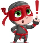 Little Ninja Kid Cartoon Vector Character AKA Shinobi The Curious Boy - Attention