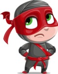 Little Ninja Kid Cartoon Vector Character AKA Shinobi The Curious Boy - Roll Eyes