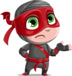 Little Ninja Kid Cartoon Vector Character AKA Shinobi The Curious Boy - Lost 1