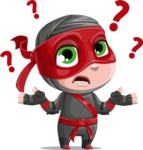 Little Ninja Kid Cartoon Vector Character AKA Shinobi The Curious Boy - Confused