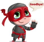 Little Ninja Kid Cartoon Vector Character AKA Shinobi The Curious Boy - Goodbye