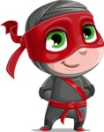 Little Ninja Kid Cartoon Vector Character AKA Shinobi The Curious Boy - Patient